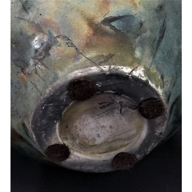 Vintage 1970s Studio Art Pottery Ceramic Raku Vase With Scarab Beetle For Sale - Image 10 of 13