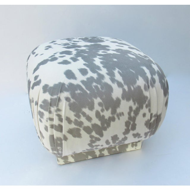 Vintage; C.1970s, Mid-Century Modern, Karl Springer ottoman. We have lovingly re-upholstered this stunning and timeless...