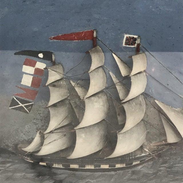 Folk Art Shadowbox Ship Diorama of a Three Masted Schooner For Sale - Image 4 of 10