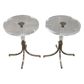 Charles Hollis Jones Side Table in Lucite and Nickel For Sale