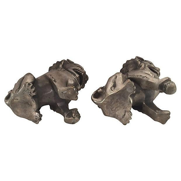 Silver Foo Dog Statues - Pair - Image 4 of 6