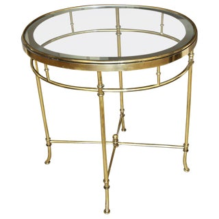 Italian Oval Brass X-Stretcher Side Table