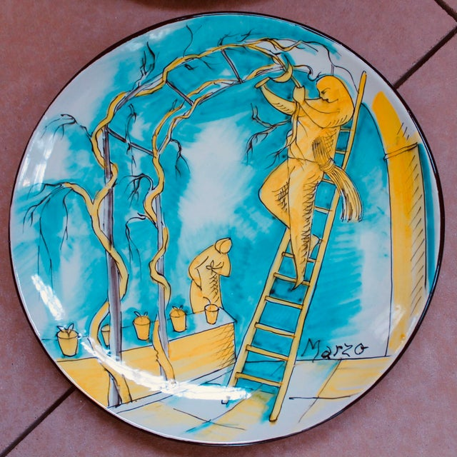 Set of 12 Italian Maiolica Dinner Plates, Painted With Country Life Scenes For Sale - Image 11 of 13
