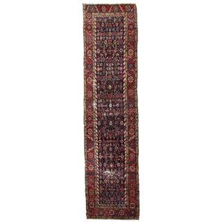 1880s Handmade Antique Persian Bakshaish Runner 3.2' X 12.3' For Sale