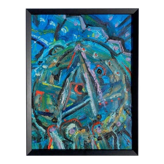 Colorful 20th Century Abstract Painting on Board For Sale