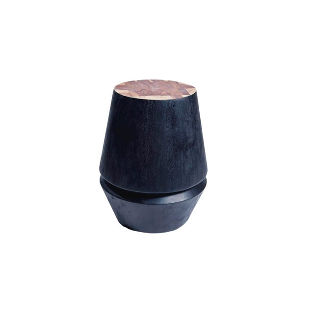 Wood Capirucho Side Table & Stool Black Stain Brushed For Sale - Image 7 of 7