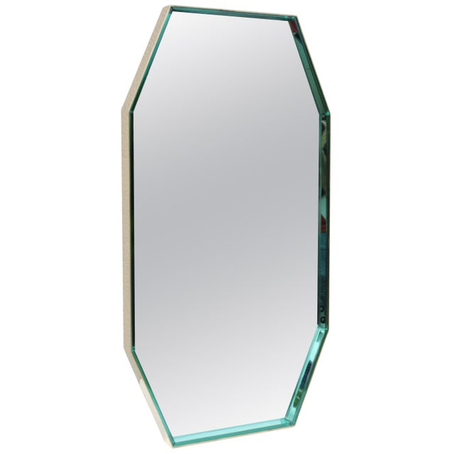 Fontana Arte Green Glass and Brass Octagonal Mirror For Sale - Image 11 of 11