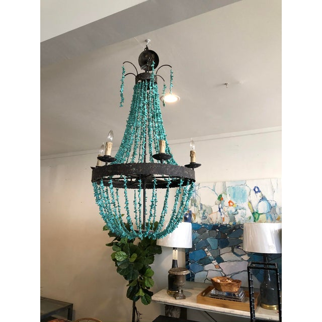 Regina Andrew Rustic Empire Style Turquoise Beaded Chandelier For Sale - Image 4 of 5