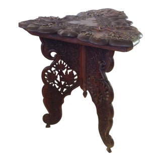 Anglo-Indian Triangular Carved Walnut Table