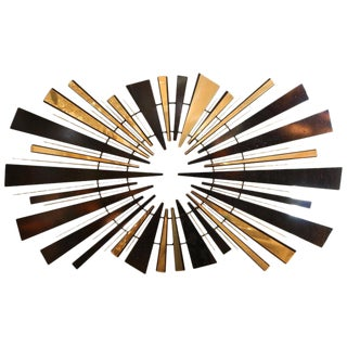 Mid-Century Modern 1974 Curtis Jere Sunburst Wall Sculpture in Brass and Black For Sale