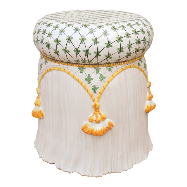 Vintage Italian Ceramic Garden Stool With Tassels For Sale