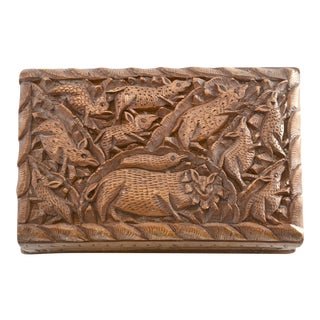Carved Animal Divided Wood Box For Sale