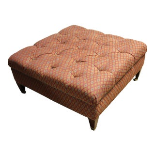 Custom Made Brown Tufted Ottoman For Sale