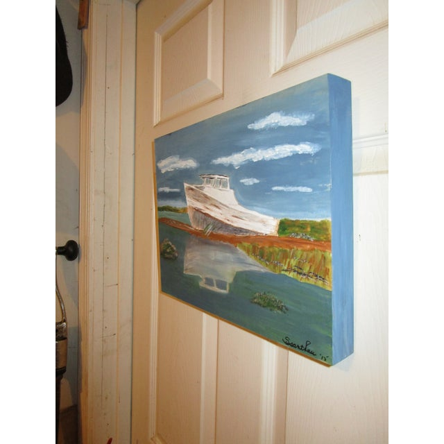 """Beached Boat"" Painting on Wooden Panel - Image 3 of 4"