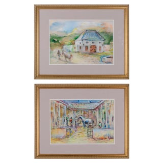 20th Century Country Watercolor Paintings of South Africa by Suzanne McCullough Plowden - a Pair For Sale