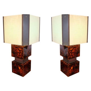 1970's French Acrylic Table Lamps - a Pair For Sale
