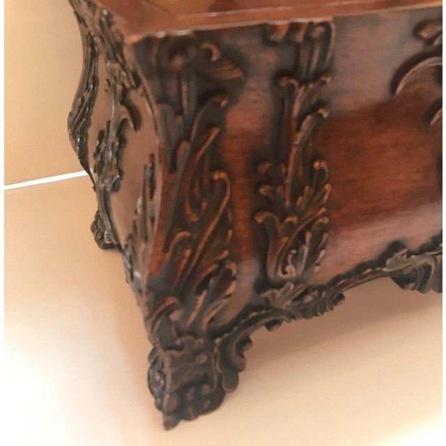 Traditional 1990s Maitland-Smith Carved Mahogany Hinged Tea Caddy Box For Sale - Image 3 of 13
