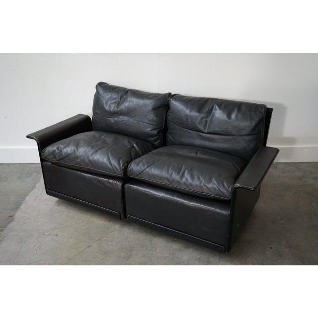 1970s Vintage Black Leather Sofa by German Designer Dieter Rams For Sale - Image 5 of 8