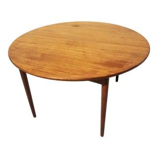 1960s Danish Modern Round Teak Dining Table For Sale