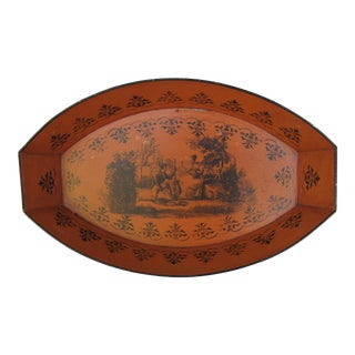Italian Tole Burnt Orange Decorative Bowl With Black Designs For Sale