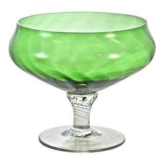 Green Blown Glass Pedestal Bowl For Sale