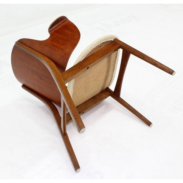 Mid-Century Modern Molded Plywood Barrel Back Armchair with New Upholstery For Sale - Image 9 of 10