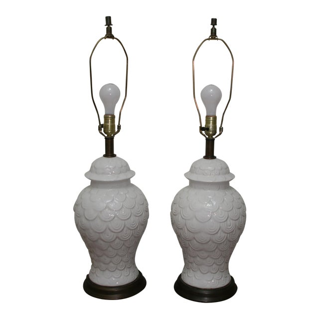 Vintage Fish Scale Table Lamps - A Pair - Image 1 of 5