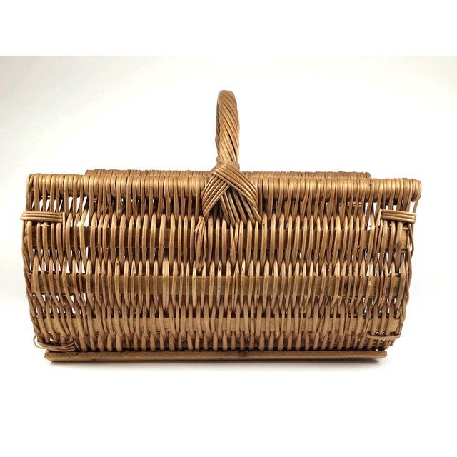 Vintage Wicker Log Basket & Magazine Rack For Sale In Portland, ME - Image 6 of 13