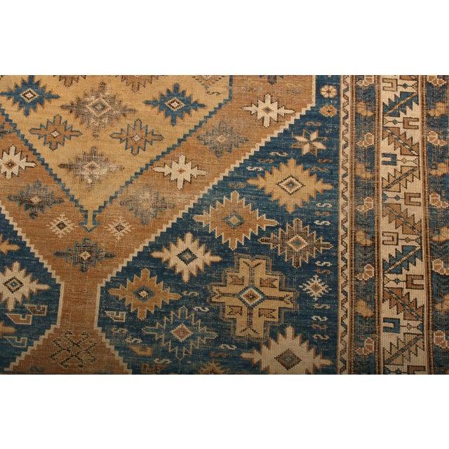 Rug & Kilim Antique Kuba Rug Beige Brown Blue Medallion Style Pattern For Sale - Image 4 of 6