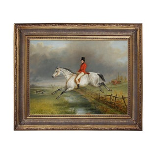 Sir Arnold on Hunter Framed Oil Painting Print on Canvas in Antiqued Gold Frame For Sale