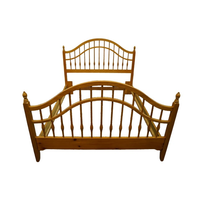 Vintage Thomasville Furniture Solid Knotty Pine Queen Size Spindle Bed For Sale - Image 10 of 10