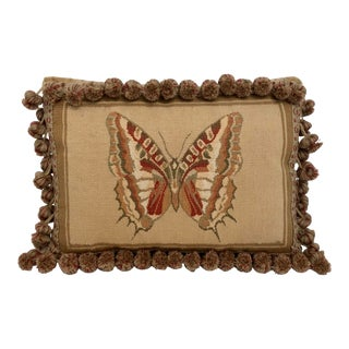 Butterfly Petit Point Accent Pillow For Sale