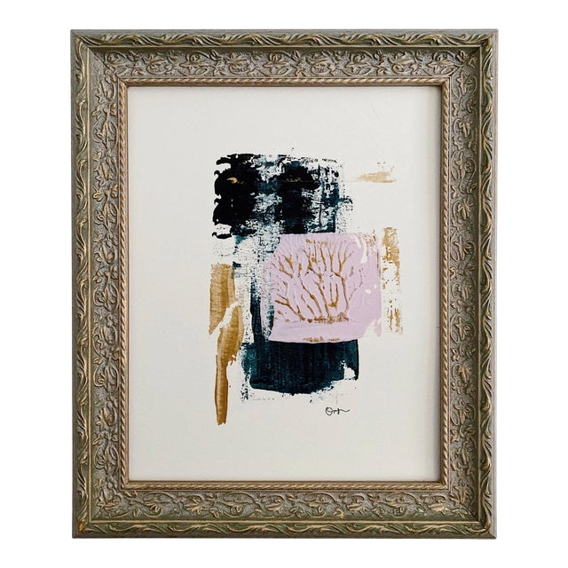 """Abstract """"Optimistic"""" Acrylic Painting With Vintage Frame For Sale"""