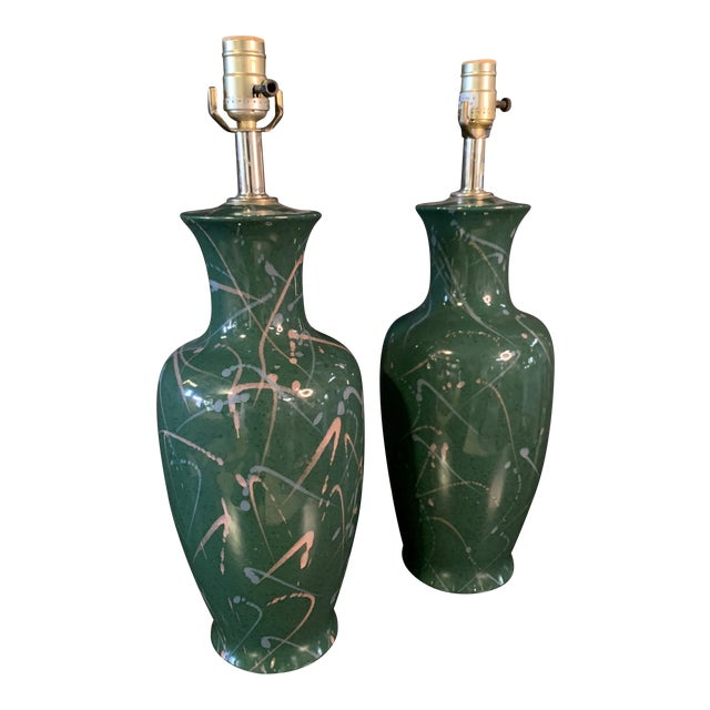Vintage 90's Splatter Paint Lamps - a Pair For Sale