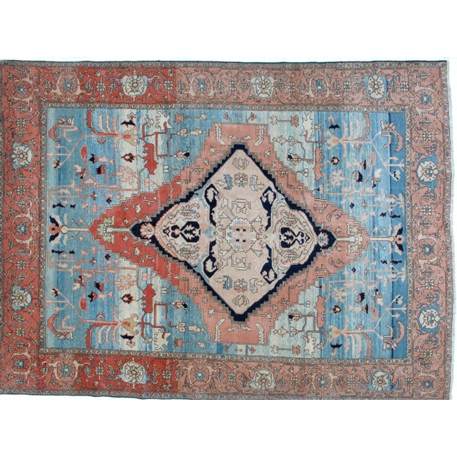 Wool pile genuine hand woven vegetable dye vintage Bakhshaish carpet in mint condition. The piece was made in the 1970s.