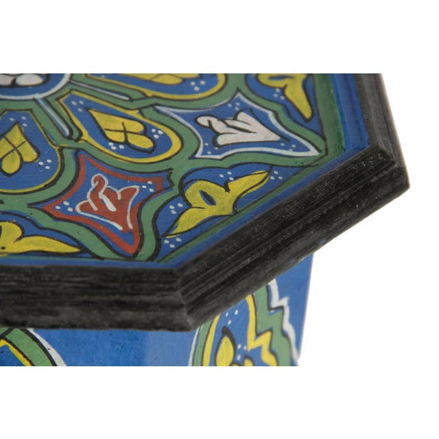 Blue Dari Hand-Painted Side Table - Image 4 of 5