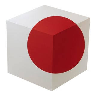 """Red Dot"" Contemporary Minimalist Painted Sculptural Wall Object For Sale"