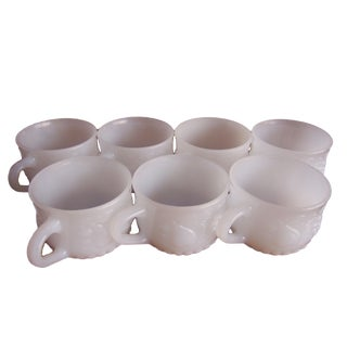1980s Jeannette Style Milk Glass Fruit Pattern Cups - Set of 7 For Sale
