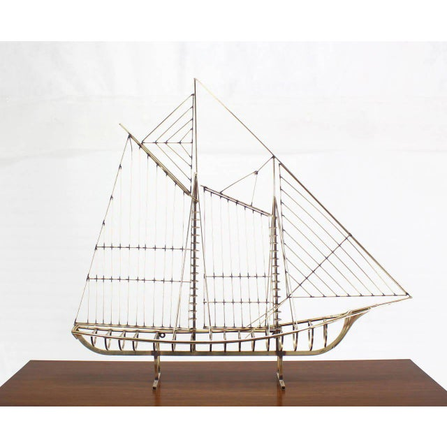 Long Brass 1976 Curtis Jere Sail Boat Sculpture For Sale - Image 9 of 10