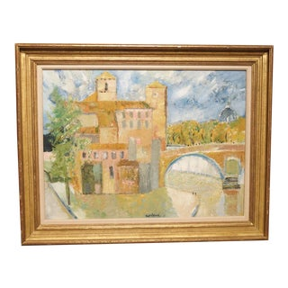 """""""Pont a Rome"""" by Guy Bardone, French. 1927-2015 Painting For Sale"""