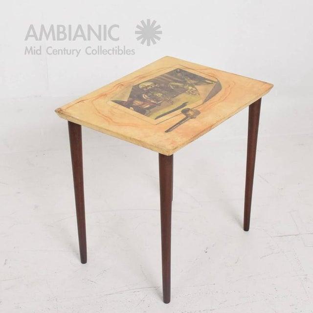 For your consideration a vintage side table in wood with goatskin. The top has a beautiful painting (attributed to...