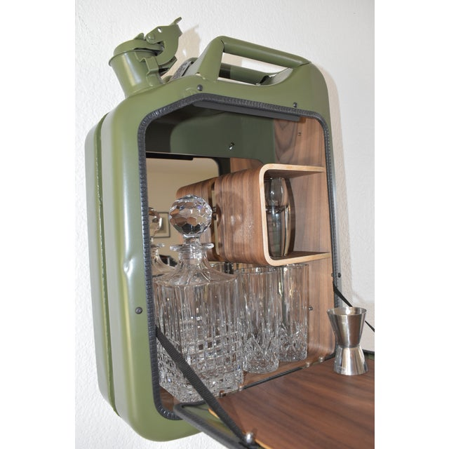 Green Danish Fuel Army Green Bar Cabinet For Sale - Image 8 of 10