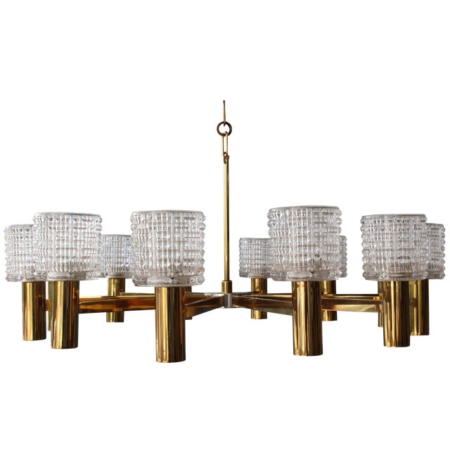 1960s Italian Chandelier With Cut Crystal Shades by Arredoluce Monza For Sale