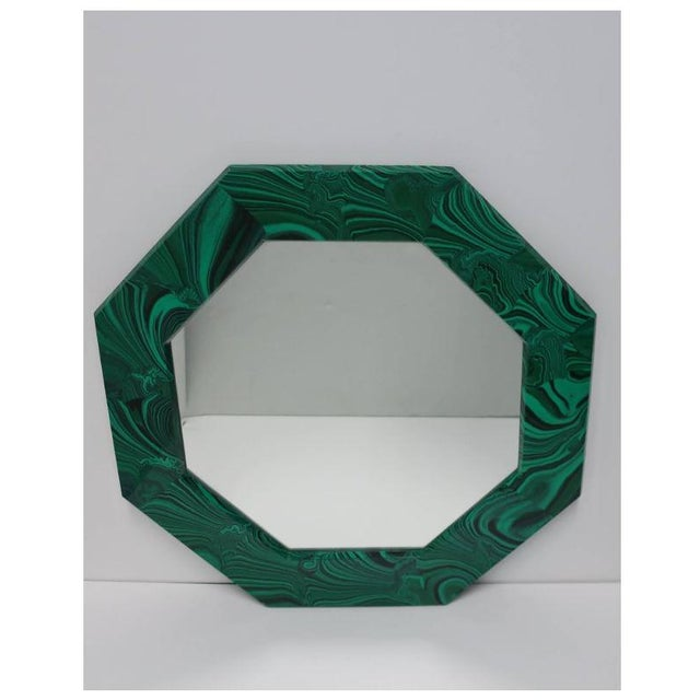 Contemporary Green Malachite Octagonol Wall Mirror For Sale - Image 3 of 13