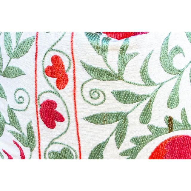 Pomegranate & Green Ivy Uzbek Suzani Pillow For Sale - Image 4 of 10