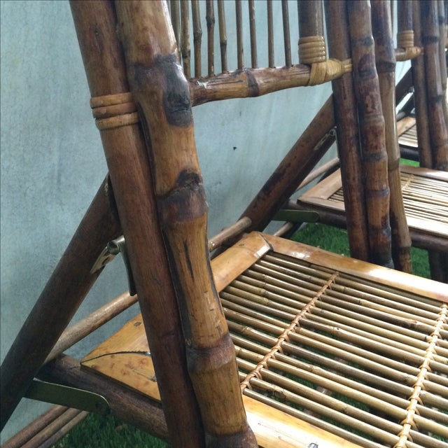 Bamboo Folding Chairs - Set of 4 - Image 9 of 11