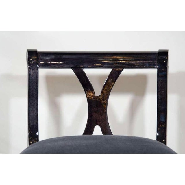 Gray Pair of Art Deco Vanity Chairs in Mohair and Ebonized Walnut For Sale - Image 8 of 10