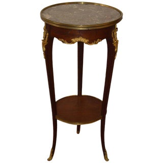 Louis XV Style Mahogany Round Side Table With Bronze Accents a Marble top.nd Marble Top