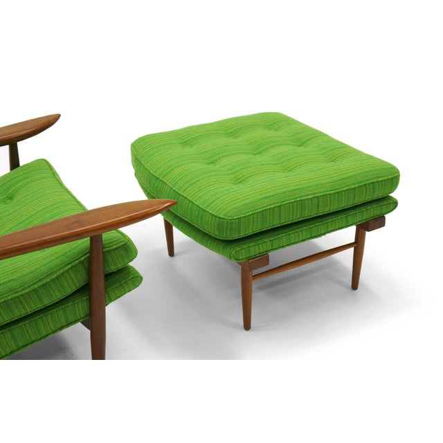 Rare George Nakashima for Widdicomb High Back Lounge Chair and Ottoman For Sale - Image 9 of 11
