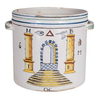 19th Century French Faience Masonic Cachepot For Sale